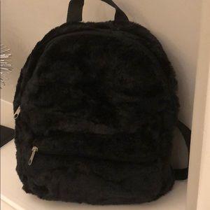 Handbags - Black fuzzy backpack